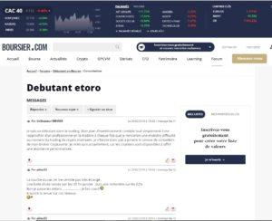 Capture d'écran d'un forum dédié à la bourse où des traders donnent leur opinion sur etoro