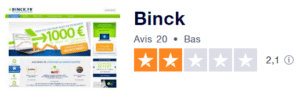 Moyenne des avis de clients Binck sur Truspilot