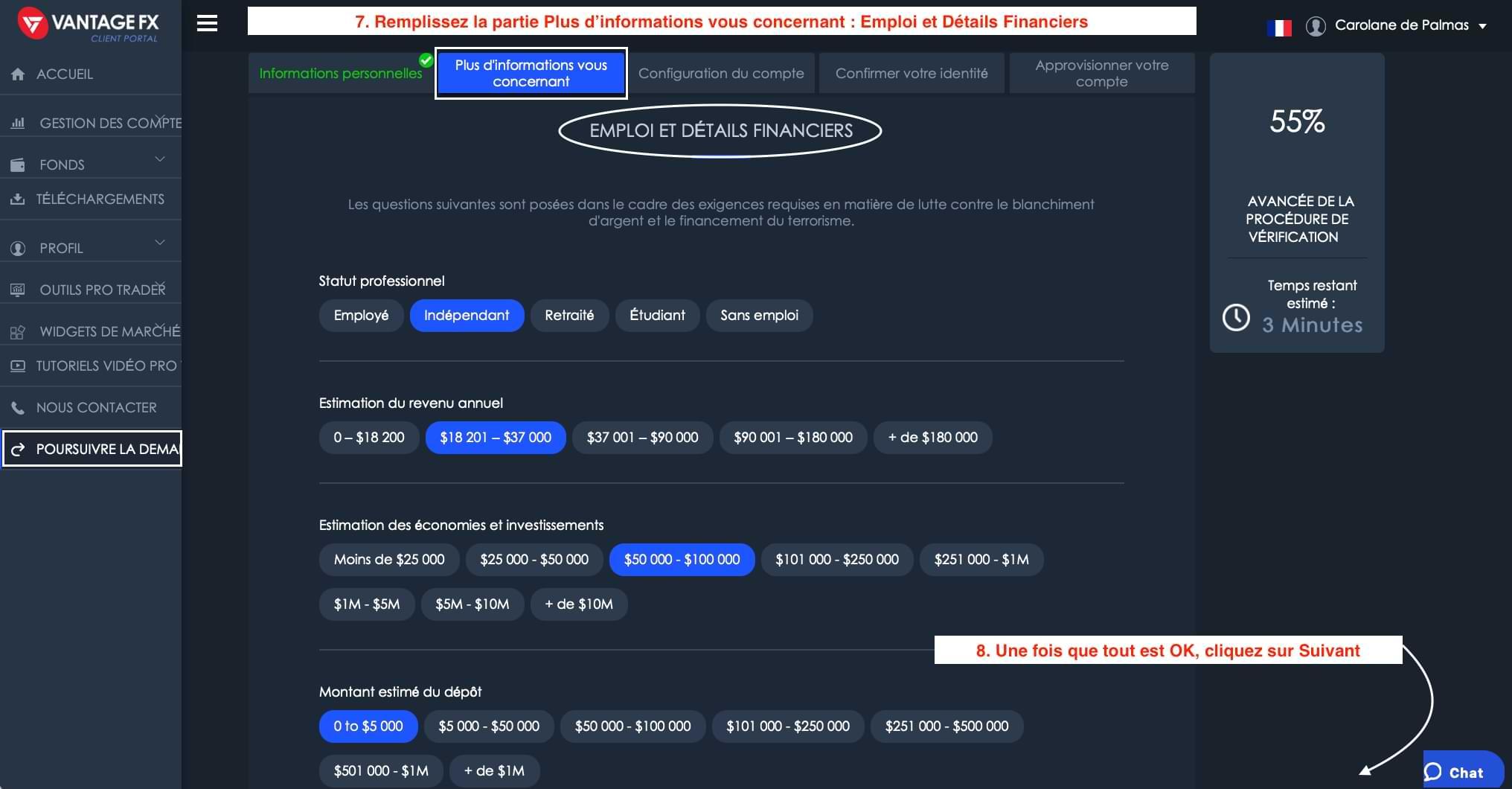 Ouverture de Compte Vantage FX_Informations Financières