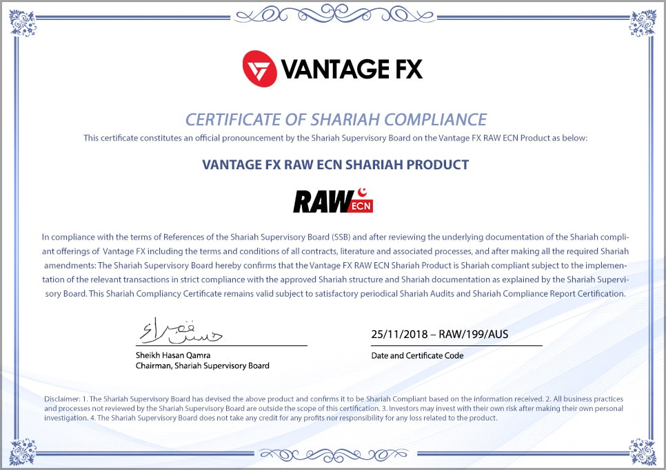Certification Compte Islamique RAW ECN Vantage FX